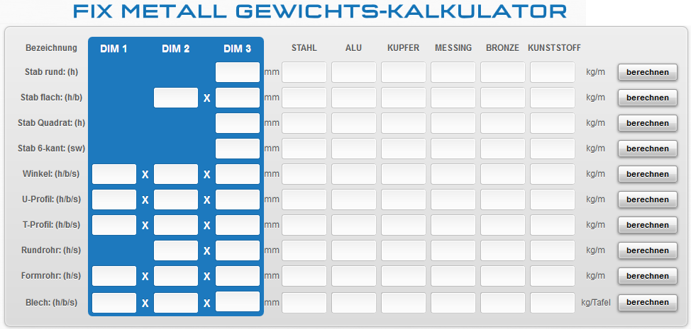 Fixmetall-Gewichts-Kalkulator