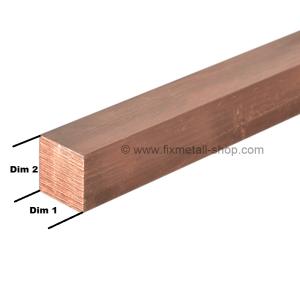 Kupfer Stab quadrat
